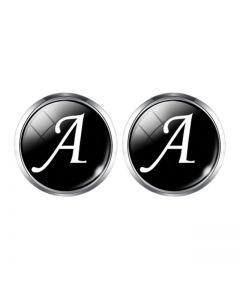 A1-1001 Manchetknopen - Letters Initialen Letter A Zilver Zwart 1.jpg
