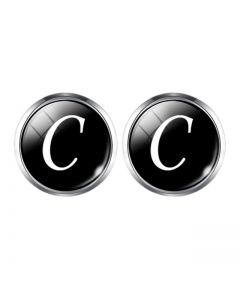 A1-1003 Manchetknopen - Letters Initialen Letter C Zilver Zwart 1.jpg