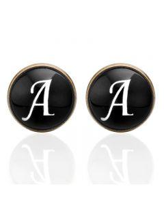 Manchetknopen - Letters Initialen Letter A Koper Zwart