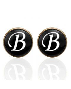 Manchetknopen - Letters Initialen Letter B Koper Zwart