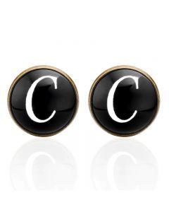 Manchetknopen - Letters Initialen Letter C Koper Zwart