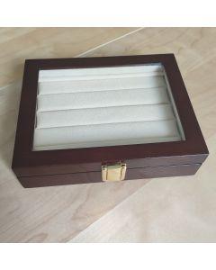 Luxe Houten Manchetknopen Box met Glas voor 12 Paar