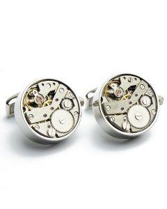 EN-1006 Manchetknopen - Open skeleton horloge Zilver Rond 1.jpg