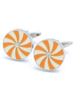 KC-1093 Manchetknopen - Rond met Wit en Oranje Spinwiel Design 1.jpg