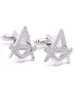 N-1545 Manchetknopen - Vrijmetselaars Freemason Zilverkleurig 1.jpg