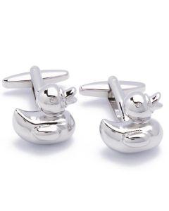 N-1630 Manchetknopen - Rubber Eendjes Badeend Eend Zilver 1.jpg