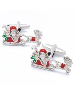 N-2358 Manchetknopen - Kerstman op Arreslee Wit en Rood 1.jpg