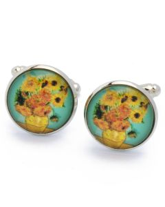 N-2444 Manchetknopen - Vaas met Zonnebloemen Geel 1.jpg