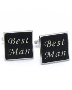 N-2658 Manchetknopen - Best Man Vierkant Zwart 1.jpg