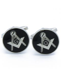 N-2673 Manchetknopen - Vrijmetselaars Zwart en Zilverkleur Rond 1.jpg