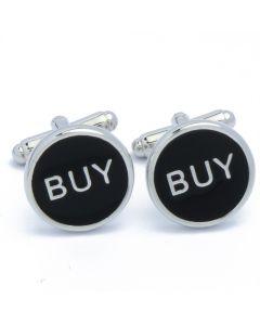 N-2693 Manchetknopen - Buy Buy Tekst Zwart Rond Beleggen 1.jpg
