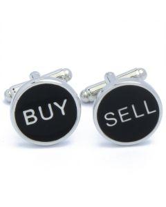 N-2694 Manchetknopen - Buy Sell Tekst Zwart Rond Beleggen 1.jpg