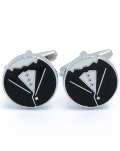 N-2702 Manchetknopen - Pak Tuxedo Zwart Wit Rond 1.jpg