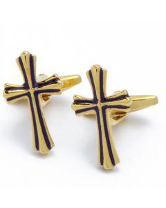 N-2734 Manchetknopen - Gouden Kruis met Zwart Accent 1.jpg