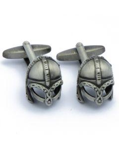 N-2738 Manchetknopen - Middeleeuwse Helm Donker Zilver 1.jpg