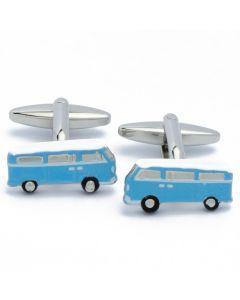 N-2758 Manchetknopen - Campervan Kampeerauto Wit en Blauw 1.jpg