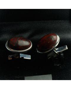 ZE1-1001 Manchetknopen - Echt Zilver 925 Rode Jaspis 1.jpg