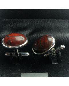ZE2-1001 Manchetknopen - Echt 925 Zilver Rode Jaspis 1.jpg