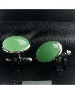ZE2-1005 Manchetknopen - Echt 925 Zilver Aventurijn 1.jpg