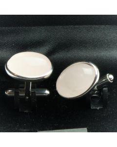 ZE2-1006 Manchetknopen - Echt 925 Zilver Rozenkwarts 1.jpg