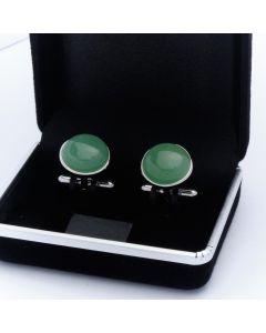 ZE3-1001 Manchetknopen - Echt Zilver 925 Rond Aventurijn Groen 1.jpg