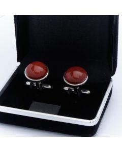 ZE3-1009 Manchetknopen - Echt Zilver 925 Rond Rode Jasper Jaspis 1.jpg