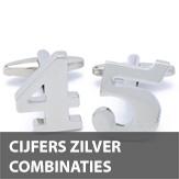 Cijfer zilver combinaties manchetknopen