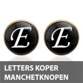 Letters koper rond manchetknopen
